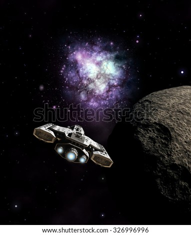 Science fiction illustration of a spaceship passing a dead planet and approaching the galactic core in deep space, 3d digitally rendered illustration - stock photo
