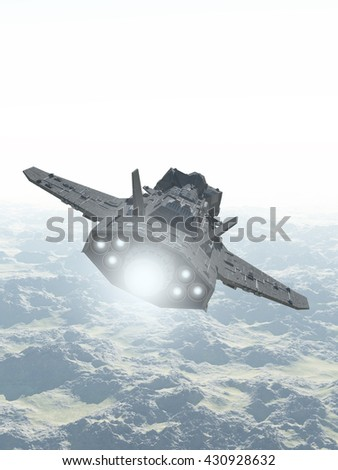 Science fiction illustration of an interplanetary spaceship in the atmosphere flying over the mountains of an alien planet, digital illustration (3d rendering)