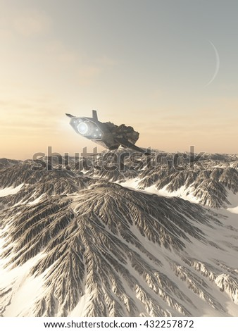 Science fiction illustration of an interplanetary spaceship in the atmosphere over the snow covered mountains of an alien planet, digital illustration (3d rendering)