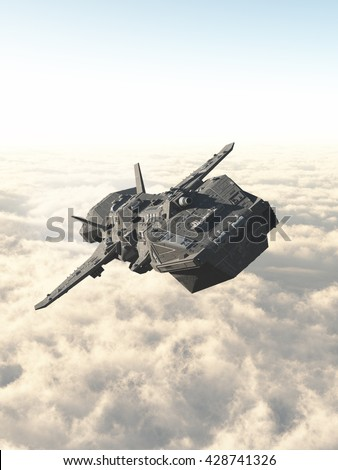 Science fiction illustration of an interplanetary spaceship in the high atmosphere above the clouds of an alien planet, digital illustration (3d rendering) - stock photo