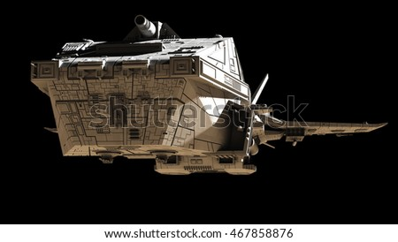 Science fiction illustration of an interplanetary spaceship, isolated on black, front angled view, digital illustration (3d rendering)