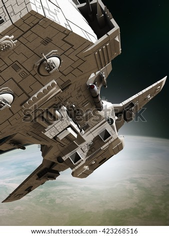 Science fiction illustration of an interplanetary spaceship leaving orbit around an alien planet, close up view ,digital illustration (3d rendering)