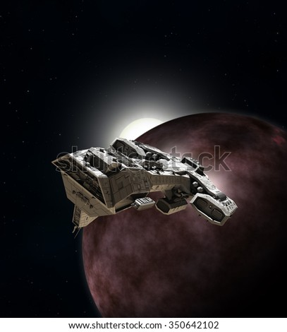 Science fiction illustration of an interstellar spaceship breaking orbit from around a red planet, 3d digitally rendered illustration
