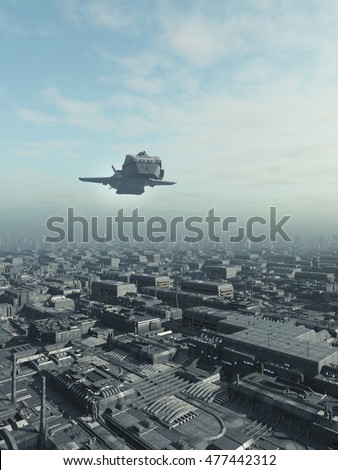 Science fiction illustration of an interstellar spaceship flying over a future city, digital illustration (3d rendering)