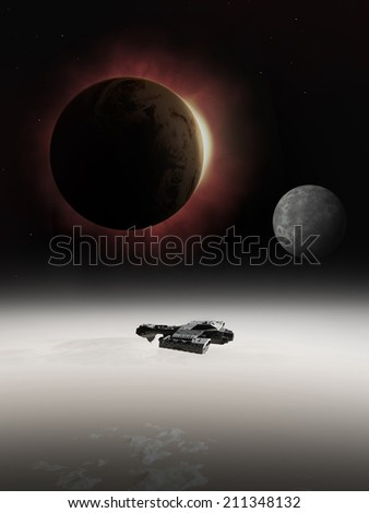 Science fiction illustration of an interstellar spaceship with red giant star in eclipse emerging from behind a planet, 3d digitally rendered illustration - stock photo
