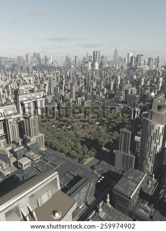 Science fiction illustration of the buildings of an old Medieval town hidden in the middle of a future city, 3d digitally rendered illustration - stock photo
