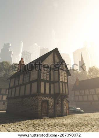 Science fiction illustration of the view from the Medieval buildings of an old town to the modern buildings of the future city on a bright sunny day, 3d digitally rendered illustration - stock photo