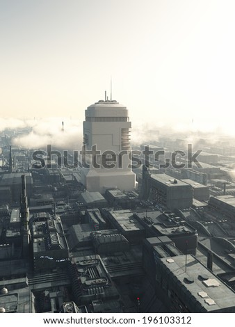 Science fiction illustration of the view of future city streets dominated by a giant tower, 3d digitally rendered illustration - stock photo
