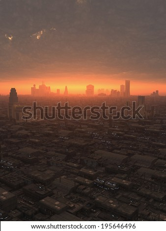 Science fiction illustration of the view over a future city at sunset, 3d digitally rendered illustration - stock photo