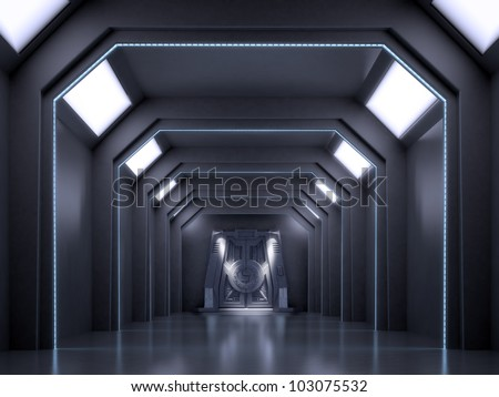 Science fiction interior scene - sci-fi dark corridor - stock photo