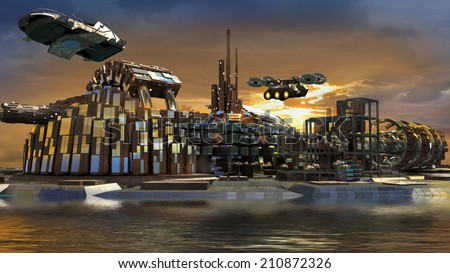 Science fiction island city with metallic ring structures on water and hoovering aircrafts in sunset for futuristic or fantasy backgrounds - stock photo