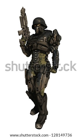 Science fiction space marine commando wearing metallic armour isolated on white, 3d digitally rendered illustration - stock photo