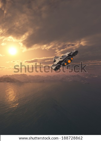Science fiction spaceship flying inside the atmosphere of an earth-like planet at sunset, 3d digitally rendered illustration