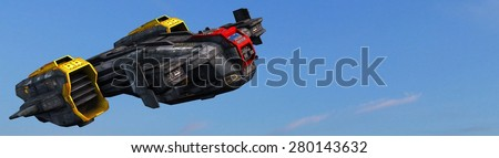 Science fiction spaceship in the sky - flying through the Atmosphere - stock photo