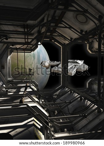 Science fiction spaceship leaving dock watched by a space marine guard, 3d digitally rendered illustration - stock photo