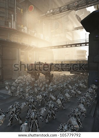 Science fiction urban pacification scene set in a futuristic high rise city patrolled by an army of combat machines, 3d digitally rendered illustration - stock photo