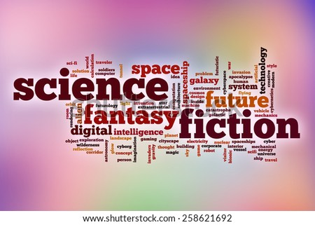 Science fiction word cloud concept with abstract background - stock photo