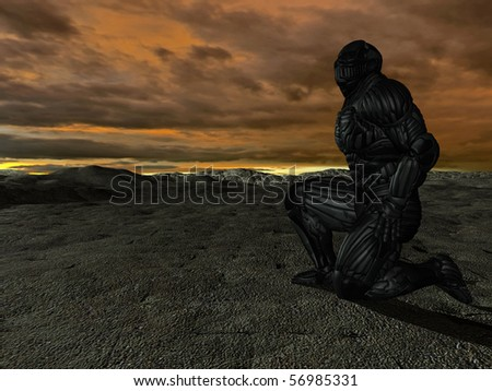 science fictional character in a strange and hostile world. 3D rendering over background scene - stock photo