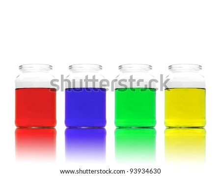 Science flasks isolated against a white background - stock photo