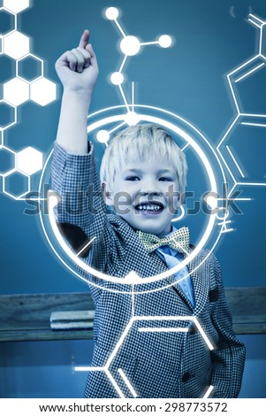 Science graphic against cute pupil dressed up as teacher in classroom - stock photo