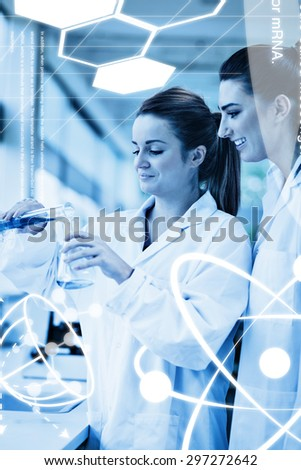 Science graphic against portrait of scientists pouring liquid in an erlenmeyer flask - stock photo