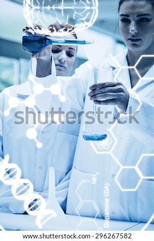 Science graphic against portrait of scientists pouring liquid into a flask - stock photo