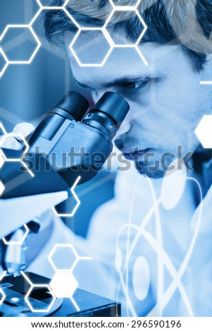 Science graphic against scientific researcher using microscope in the laboratory - stock photo