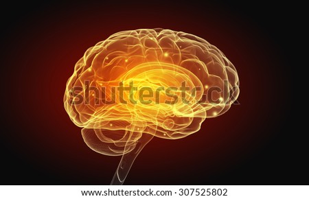 Science image with human brain on dark background - stock photo