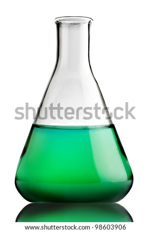 Science lab bottles with green liquid inside