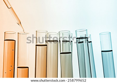 science laboratory test tubes - stock photo