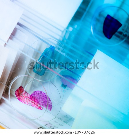science medical glass microscope slide with sample - stock photo