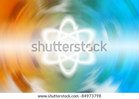 science star, white science symbol on orange and blue screen. - stock photo