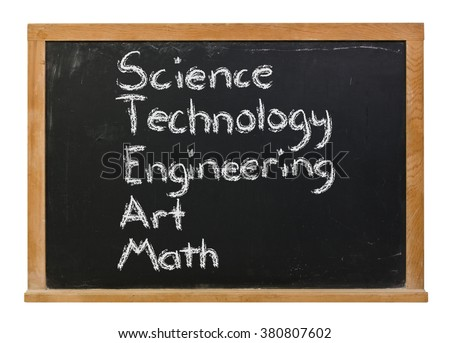 Science Technology Engineering Art Math written in white chalk on a black chalkboard isolated on white
