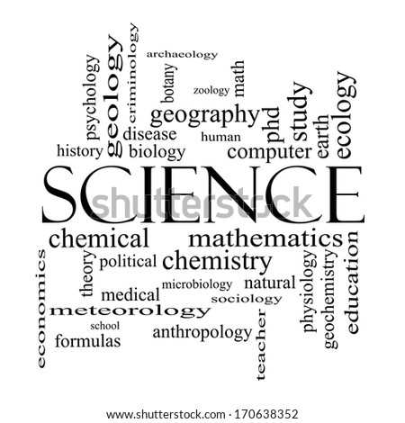 Science word cloud concept in black and white with great terms such as biology earth