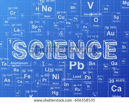 Science word on periodic table symbols stock illustration 606358535 science word on periodic table symbols blueprint background urtaz Images