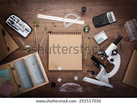 Scientific accessories on the table. Education and science concept. - stock photo
