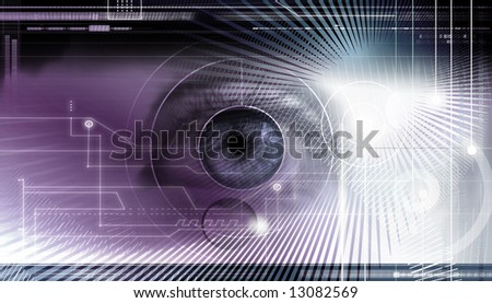 Scientific and hi-tech concept background. Computer display with eye being scanned for information - stock photo
