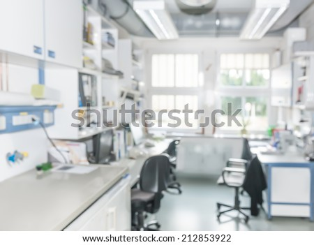 Scientific background: modern laboratory interior out of focus, text space  - stock photo