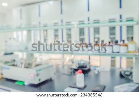 Scientific background out of focus. Modern laboratory interior out of focus, including equipment - stock photo