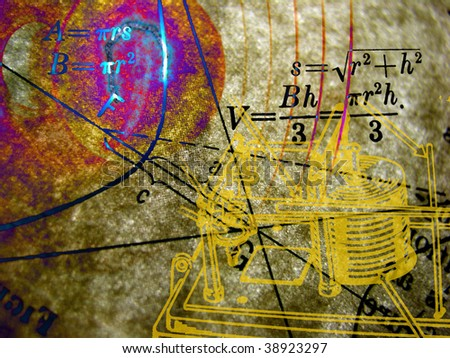 Scientific collage, math, science, and trigonometry on an old paper background