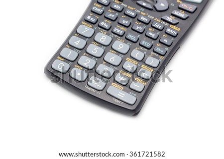Scientific digital calculator number pad on white background