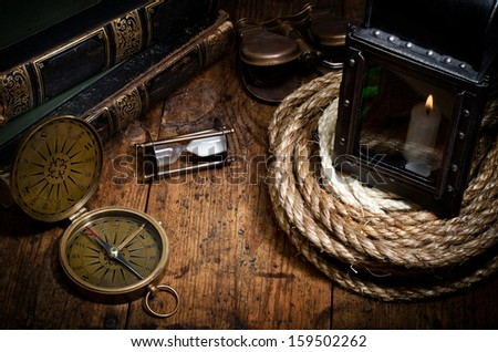 scientific expedition and history background - stock photo