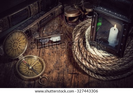scientific expedition and history background. Retro stale. - stock photo