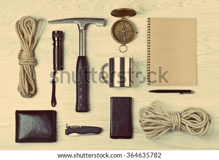 Scientific expedition and travel background. Overhead view. Retro stale. - stock photo