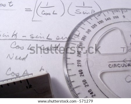 Scientific formulas with scale and 360 degree protractor - stock photo