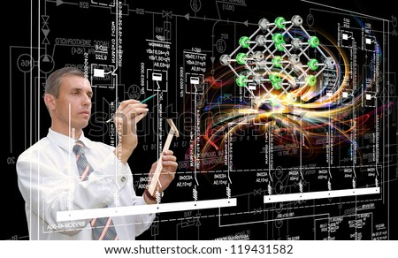 Scientific innovative  research.Engineering designing - stock photo