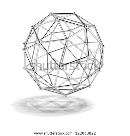 scientific model of the molecule isolated on a white background - stock photo