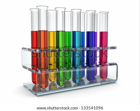 Scientific research. Glass test tubes with reagent. 3d