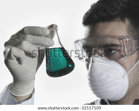 scientific research in laboratory - stock photo