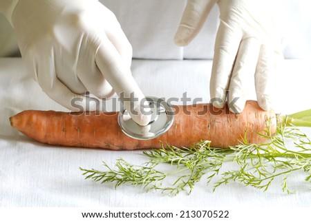 Scientist examining unhealthy food fun abstract concept - stock photo